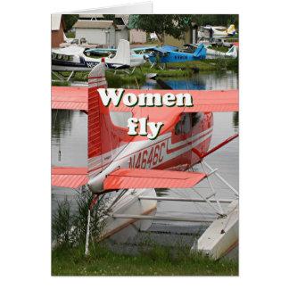 Cartão As mulheres voam: plano 23 do flutuador, Alaska