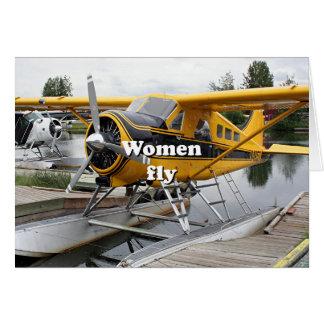 Cartão As mulheres voam: plano do flutuador, capa do