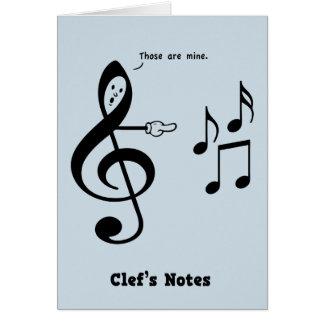 Cartão As notas do Clef