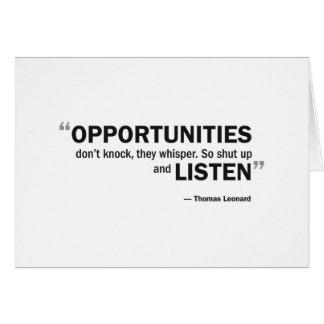 """Cartão - 'as oportunidades não batem… """""""