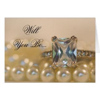 Cartão As pérolas da princesa anel de diamante sejam