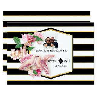 Cartão As pombas florais das listras do preto salvar a