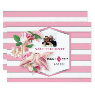 Cartão As pombas florais das listras do rosa salvar a