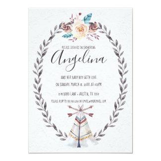 Cartão As setas da aguarela do chá de fraldas do Teepee