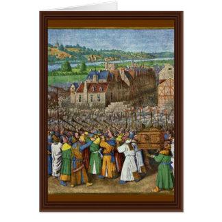 Cartão As trombetas de Jericho por Fouquet Jean (o melhor