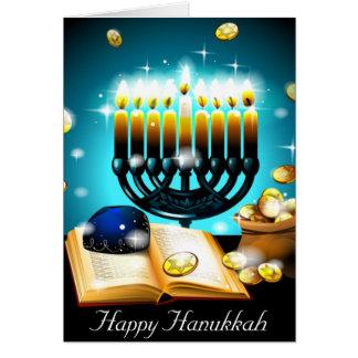 Cartão As velas de incandescência Hanukkah amam bênçãos