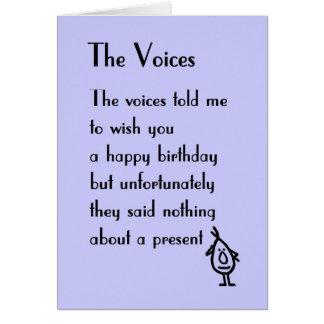 Cartão As vozes - um poema do aniversário