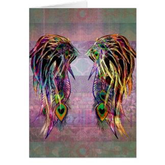 Cartão Asas boémias coloridas do anjo da pena do pavão