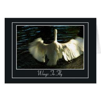 Cartão Asas de espalhamento do Egret na água