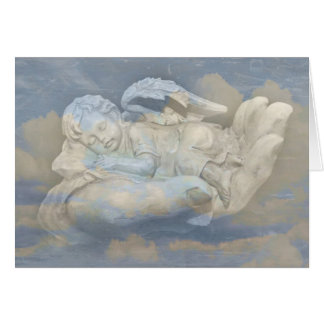 Cartão Asas do anjo do bebê que dormem na mão do deus