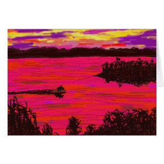 Cartão asno na jangada no rio Mississípi
