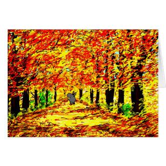 Cartão asno no outono