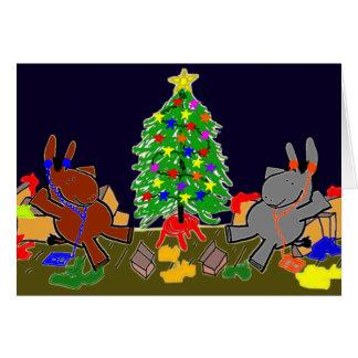 Cartão asnos e árvore de Natal