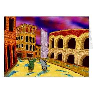 Cartão asnos em Verona, Italia