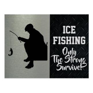 Cartão áspero da pesca do gelo