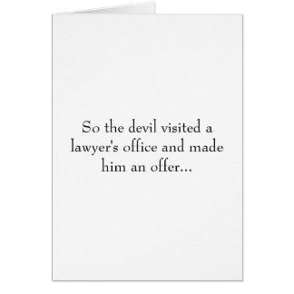 Cartão Assim o diabo visitou um escritório de advogado e