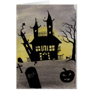 Cartão assombrado do Dia das Bruxas da aguarela da