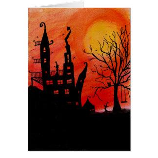 Cartão assombrado do Dia das Bruxas da casa