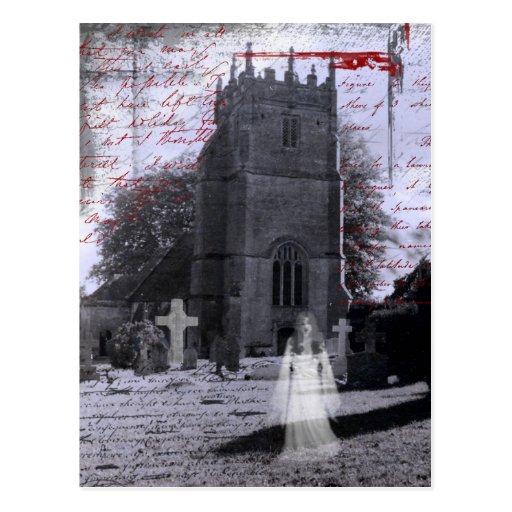 Cartão assombrado gótico do cemitério cartões postais
