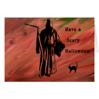 Cartão assustador do Dia das Bruxas com Ceifador