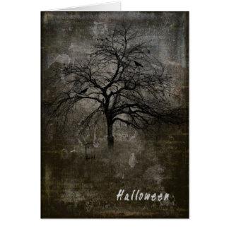 Cartão assustador do Dia das Bruxas com fantasmas