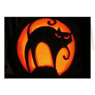 Cartão assustador do gato do Dia das Bruxas