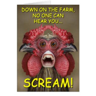 Cartão assustador engraçado do monstro da galinha
