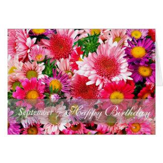 Cartão Ásteres cor-de-rosa impressionantes de setembro