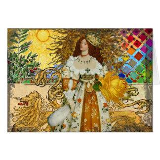 Cartão Astrologia surrealista de Leo da mulher bonita do