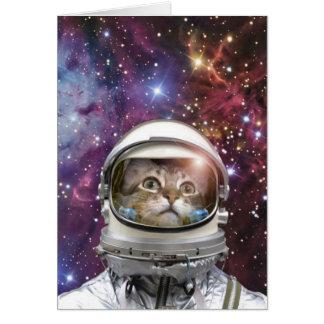 Cartão Astronauta do gato - gato louco - gato