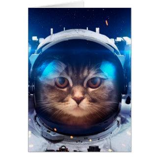 Cartão Astronauta do gato - gatos no espaço - espaço do