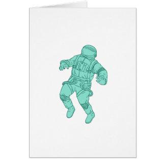 Cartão Astronauta que flutua no desenho do espaço