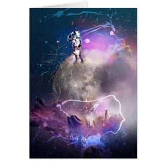 Cartão Astronauta que monta a nova super