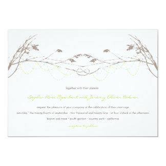 Cartão atado do convite do casamento do ramo de
