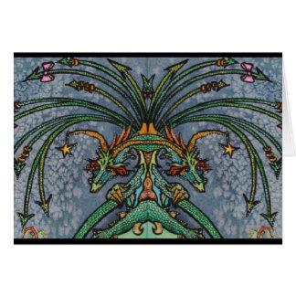 Cartão atado do dragão da imagem invertida doze