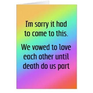 Cartão Até a morte faça-nos divórcio da parte