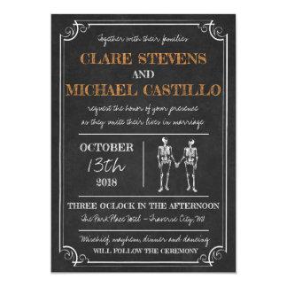 Cartão Até o casamento preto alaranjado de esqueleto do