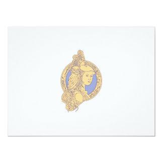 Cartão Athena com a coruja no círculo mono Li do circuito