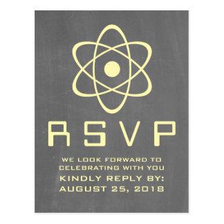 Cartão atômico amarelo do quadro RSVP