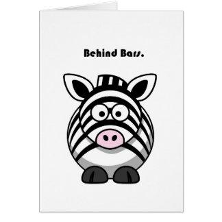 Cartão Atrás dos desenhos animados da zebra dos bares