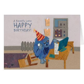 Cartão atrasado brutalmente do feliz aniversario