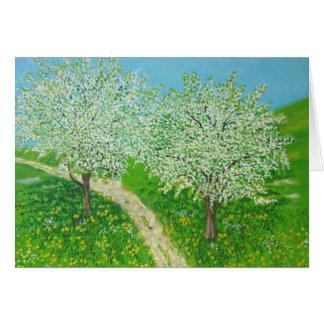 Cartão Através do prado - da arte original do Watercolour
