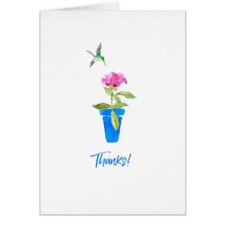 Cartão Aumentaram e os obrigados do colibri