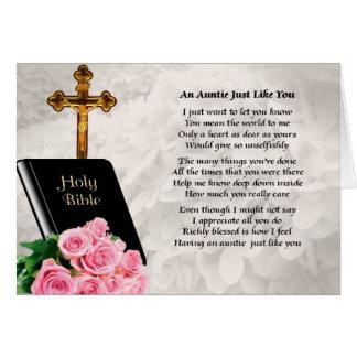 Cartão Auntie Poema - bíblia & rosas