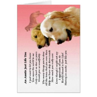 Cartão Auntie Poema - design do golden retriever