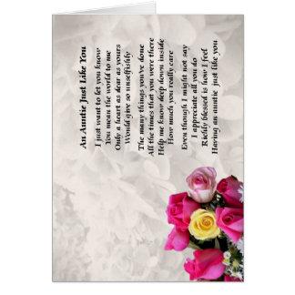 Cartão Auntie Poema - design dos rosas