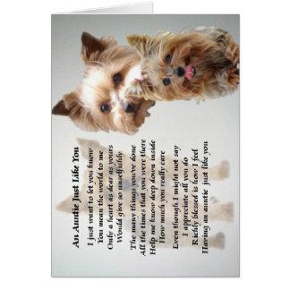 Cartão Auntie Poema - yorkshire terrier