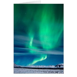 Cartão Aurora Borealis sobre Mosfellsheiði