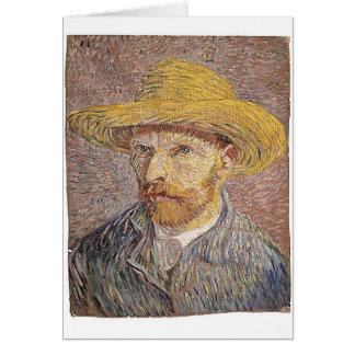Cartão Auto-Retrato com um chapéu de palha - Van Gogh