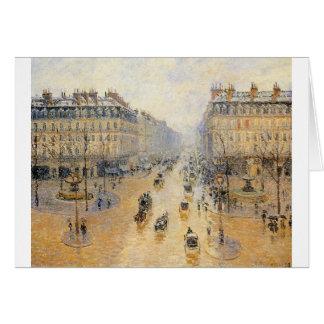 Cartão Avenida de l'Opera, efeito da neve por Camille